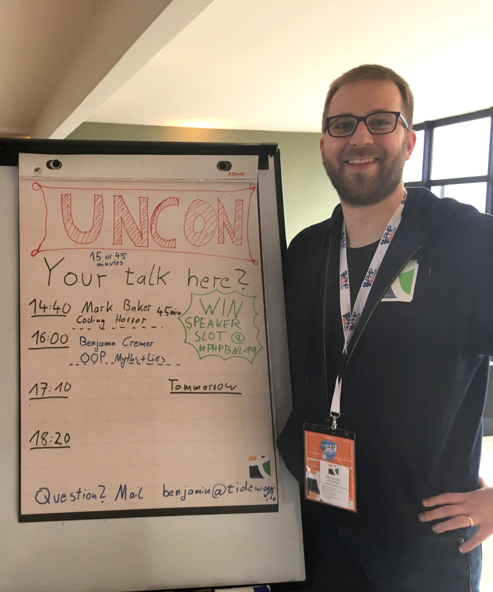 Benjamin with the PHPBenelux Unconference Board in 2018